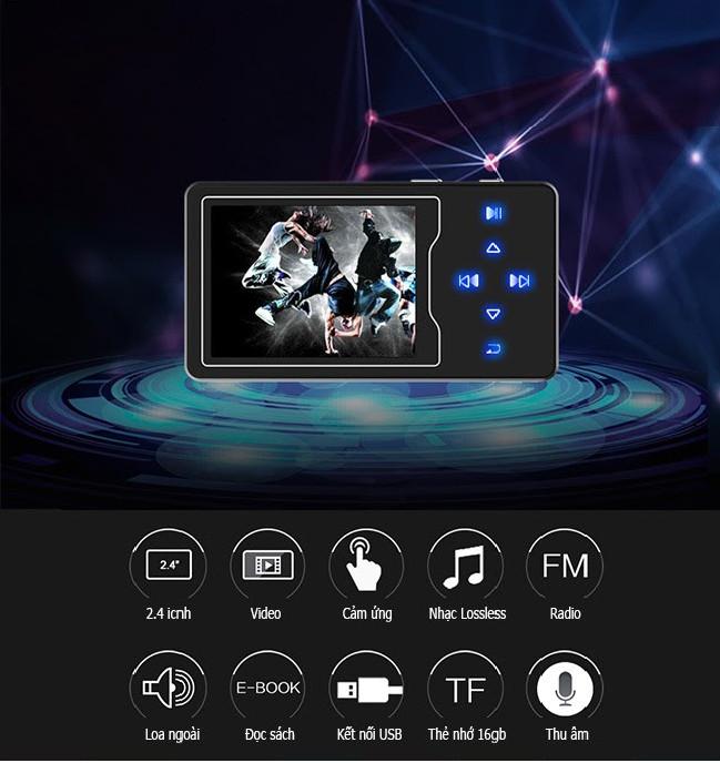 Máy nghe nhạc MP4, màn hình lớn 2.4 inch Ruizu D08 - 8G Hàng Chính Hãng