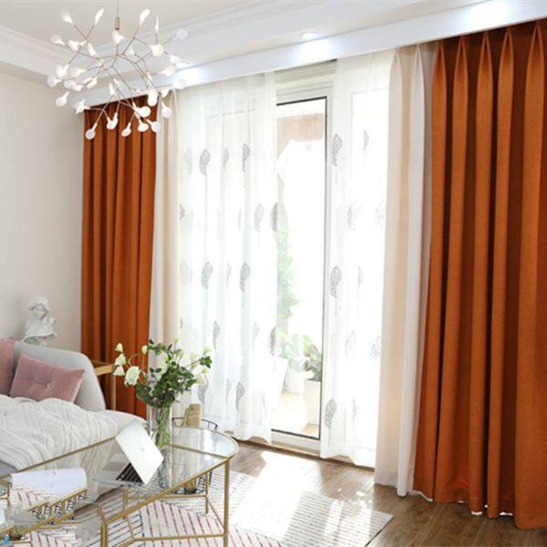 Rèm cửa vải LUCYA18-34 có thanh treo hợp kim nhôm màu gỗ đầu tròn - cao cố định 1m8