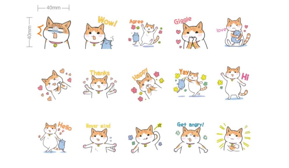 Hộp 45 Miếng Dán Sticker Trang Trí Đôi Bạn Mèo Và Chuột