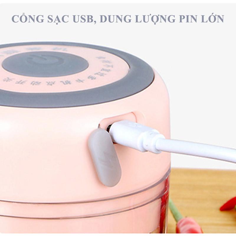 Máy Xay Tỏi Ớt Cầm Tay Mini Sạc Pin- Sạc USB, 3 Lưỡi Dao, Dung tích 100ml, 250ml, tiện lợi