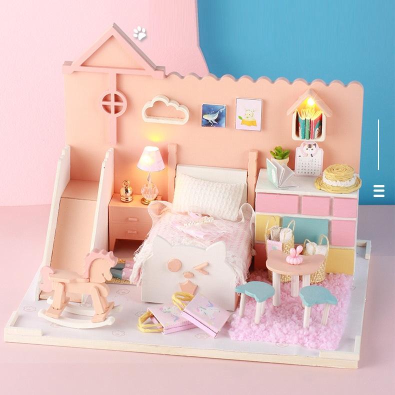 Mô hình nhà DIY Doll House Mia's Cat House Kèm Mica Chống bụi