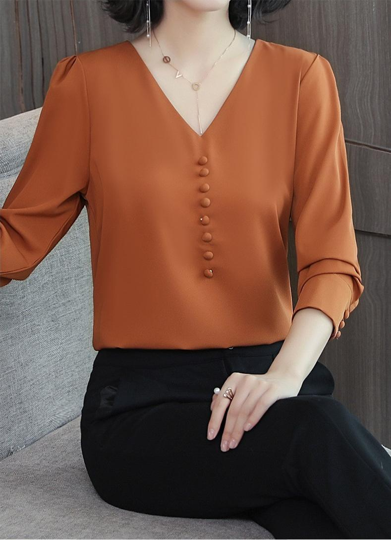 Áo Sơ Mi Nữ Kiểu Cổ Tim Ngực Đính Nút Bọc - mã SSL1229 - màu gạch - M