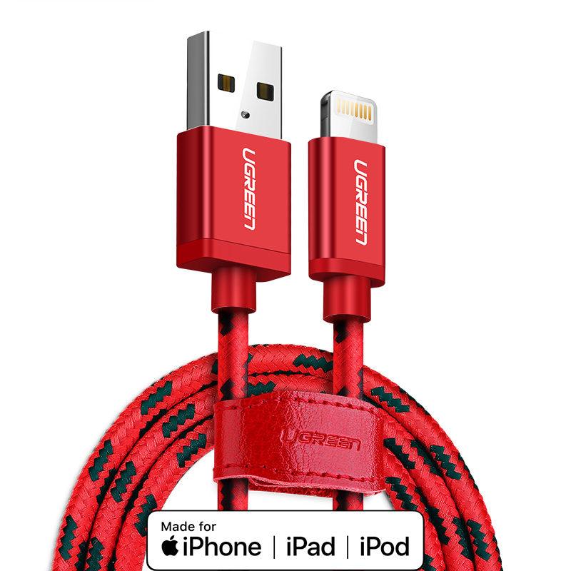 Dây USB 2.0 sang USB Lighting vỏ bọc lưới chuẩn MFI Apple dài 0.25m UGREEN US247 - Hàng Chính Hãng