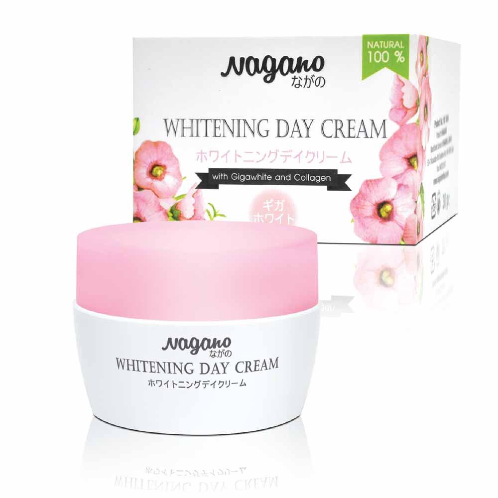 Kem Trắng Da Ban Ngày Với Gigawhite Và Collagen Nagano 30g - Whitening Day Cream Nagano 30g - Hợp chất Gigawhite và Collagen giúp làm trắng hiệu quả