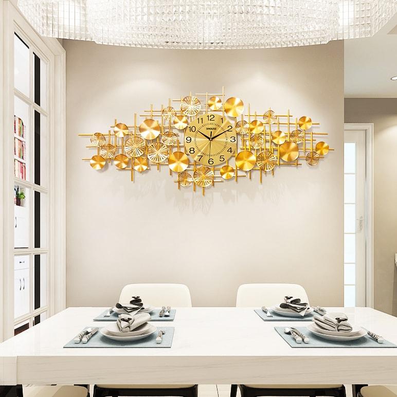Đồng Hồ Trang Trí Treo Tường Nghệ Thuật Cao Cấp Shouse DL116 hiện đại 3D kích cỡ lớn đẹp kim trôi treo phòng khách