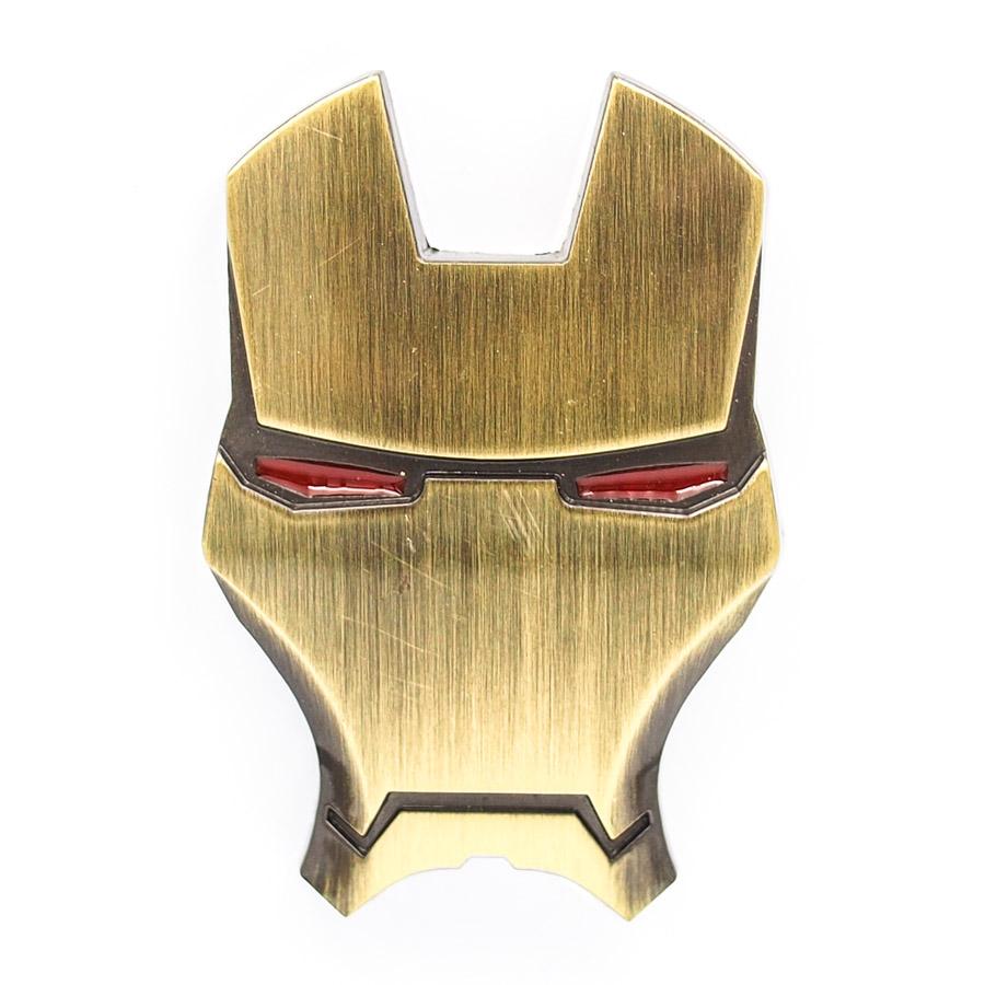 Sticker hình dán metal Mặt nạ Người Sắt Vàng đồng