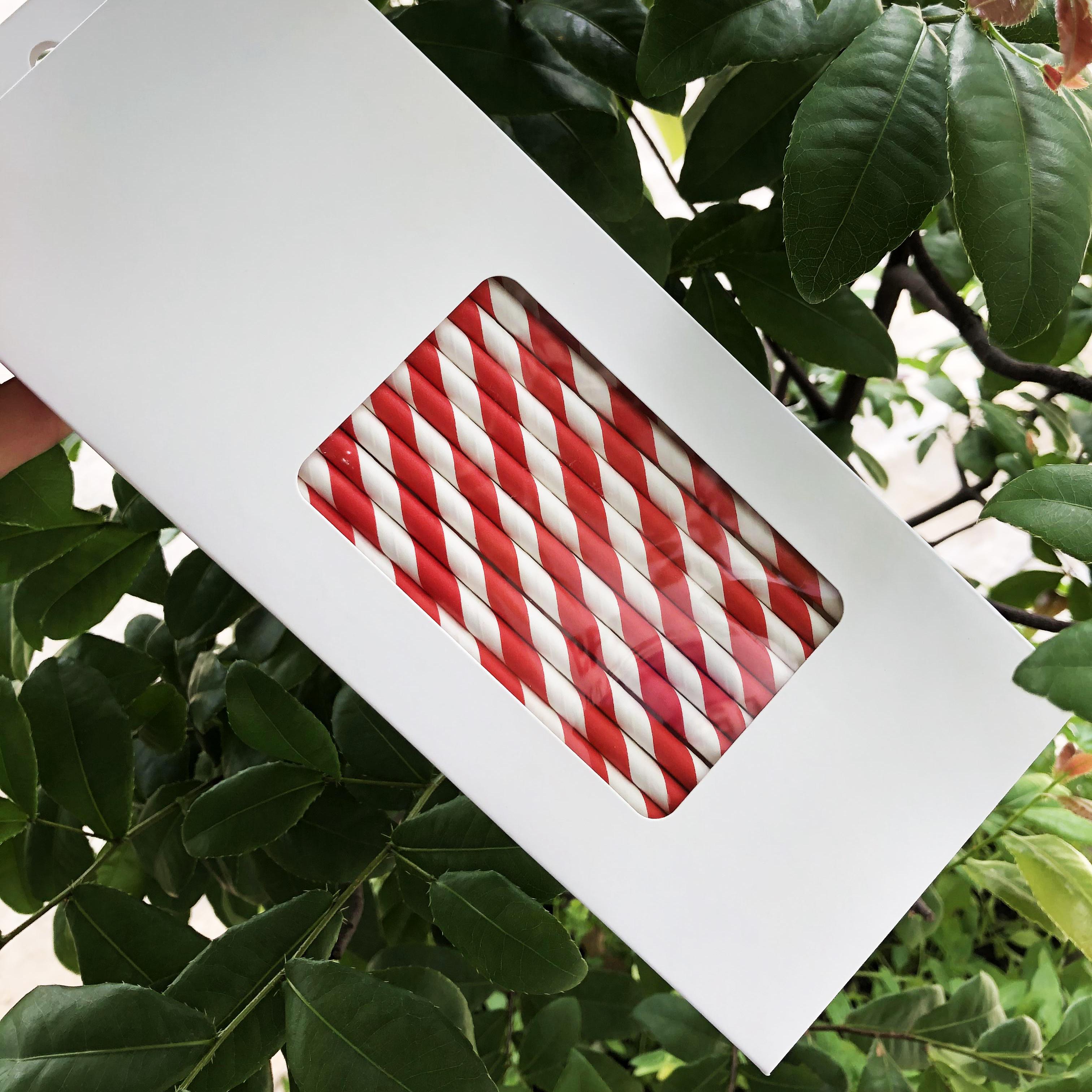 Hộp 100 ống hút giấy kích thước 197x6mm màu trắng đỏ thân thiện môi trường dùng cho mọi loại nước