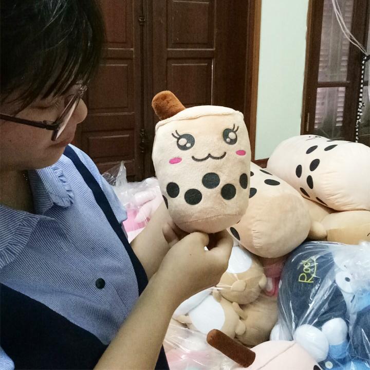 Gấu bông trà sữa xinh xắn - Tặng khẩu trang thời trang vải Su - Gấu Bông Sóc Nhí