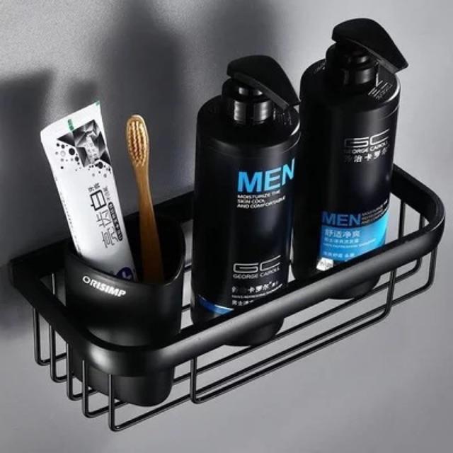 Kệ nhà tắm dính cường lực 2 cỡ Sơn tĩnh điện màu đen