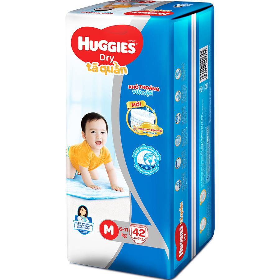 Tã Quần Huggies Dry Pants Jumbo M42 (5-10Kg) - Gói 42 Miếng