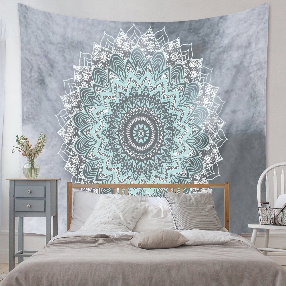 Tranh vải treo tường hoa Mandala xanh xám độc lạ