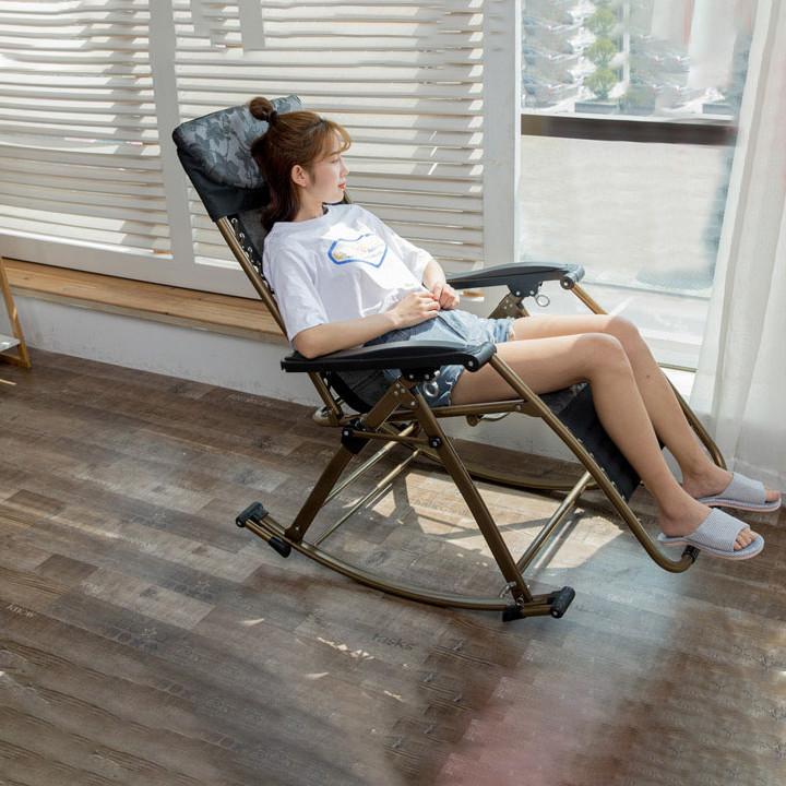 Ghế gấp thư giãn - Ghế ngủ trưa văn phòng - Ghế bập bênh gấp gọn