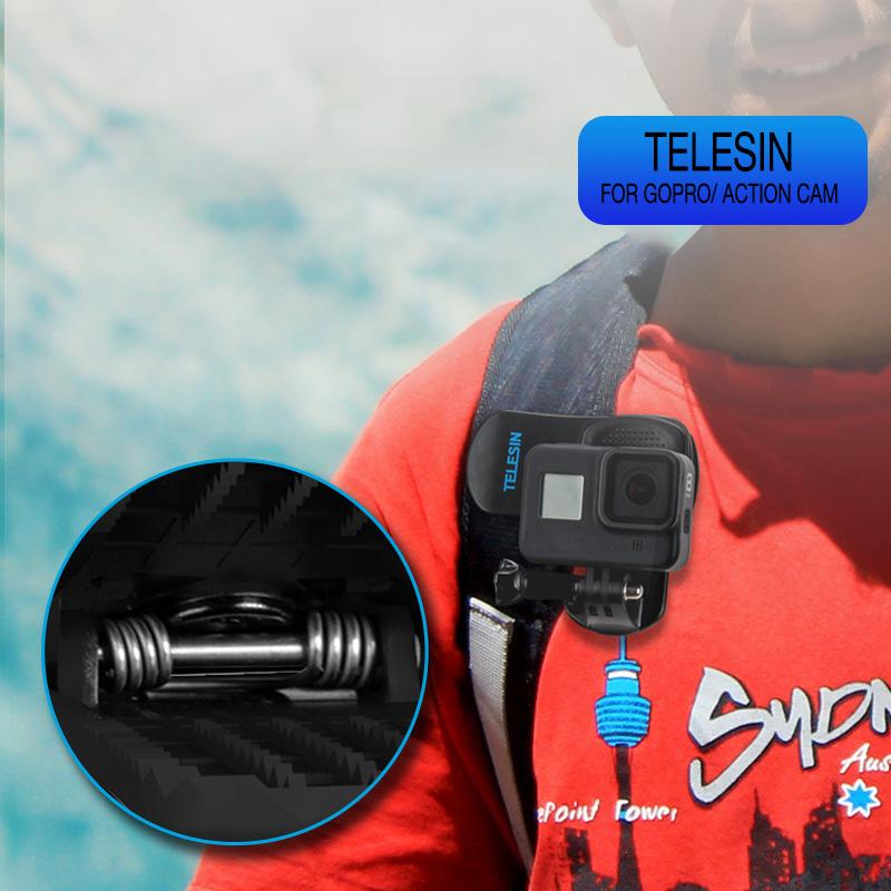 Kẹp dây Balo gắn GoPro 9 / 8 / 7 / 6 / Action cam Telesin (hàng chính hãng) Phụ kiện không bao gồm máy quay phim