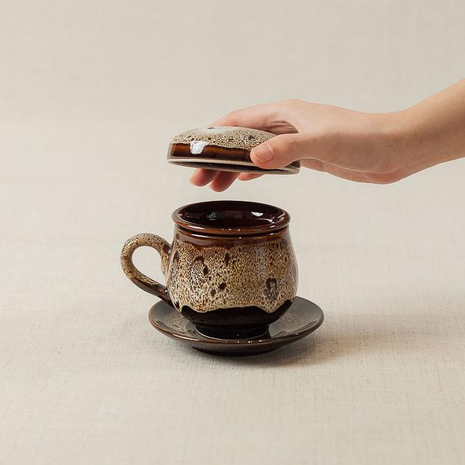 Bộ cốc lọc trà gốm - men nâu chảy