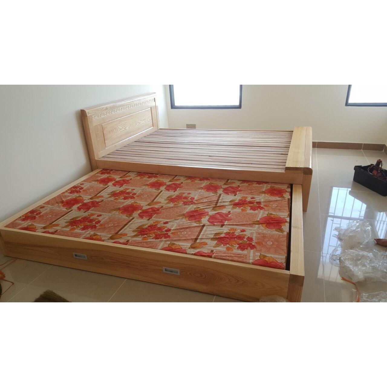 giường tầng kéo gỗ sồi tiết kiệm không gian MS A55