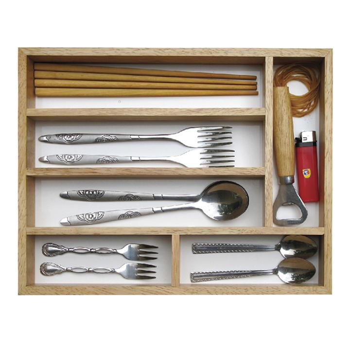 Khay gỗ 6 ngăn đựng muỗng nĩa đũa tiện lợi