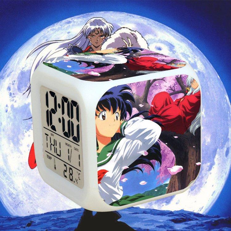Đồng hồ báo thức để bàn in hình INUYASHA KHUYỂN DẠ XOA đèn LED đổi màu anime chibi xinh xắn