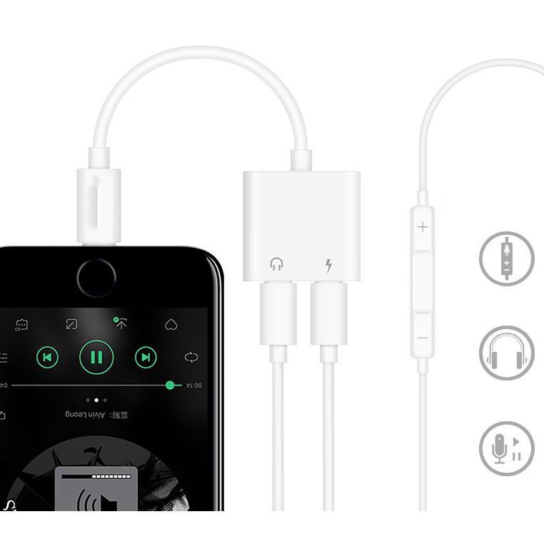 Jack Chuyển Đổi Iphone - Jack Chia Cổng Vừa Sạc Vừa Sử Dụng Tai Nghe - Hỗ Trợ Mic Cho iPhone 7 đến 11promax