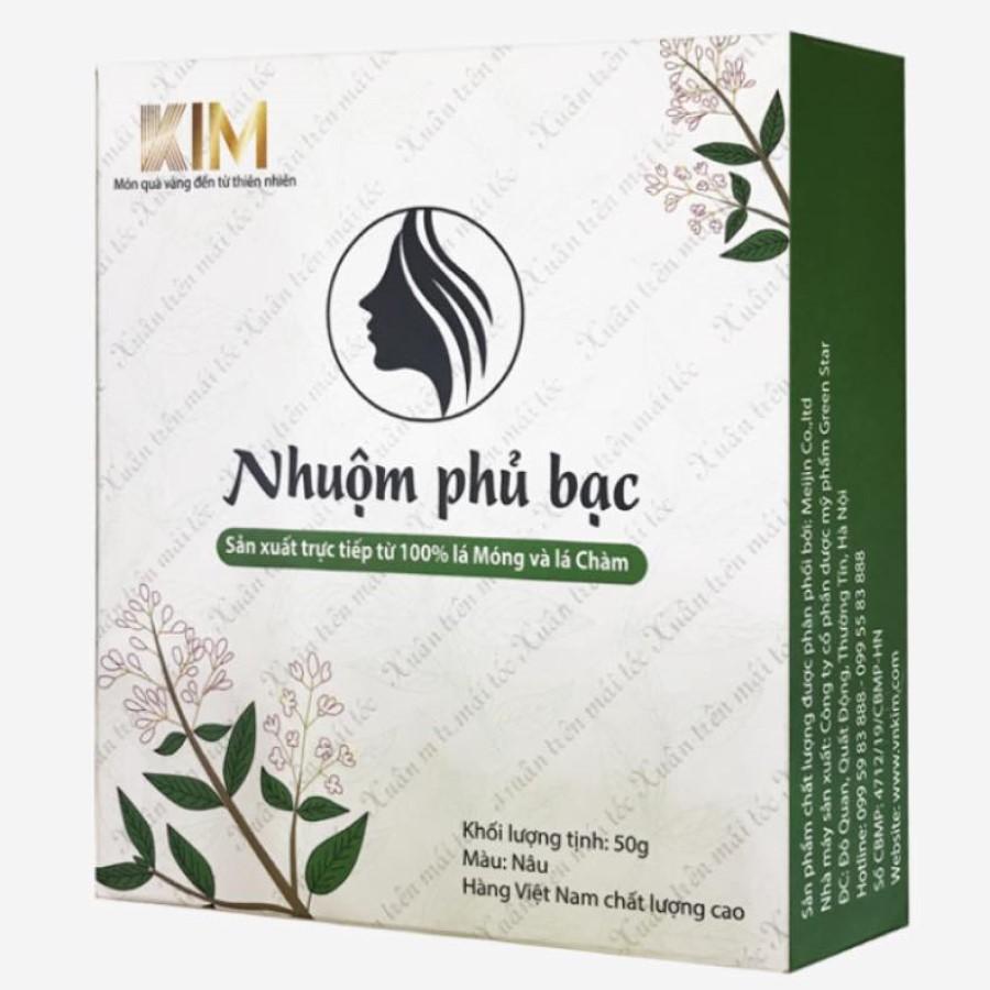 Combo 02 hộp Nhuộm tóc phủ bạc KIM (50g) 100% tự nhiên từ bột lá Móng và lá Chàm - Nhuộm mầu Nâu