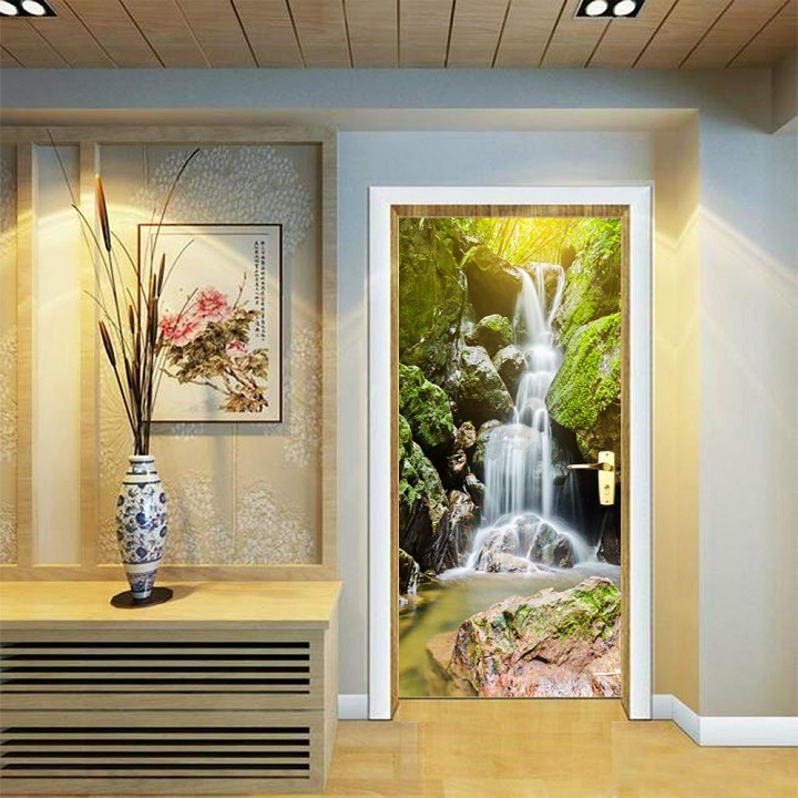 Tranh dán tường thác nước phong thủy trang trí sang trọng