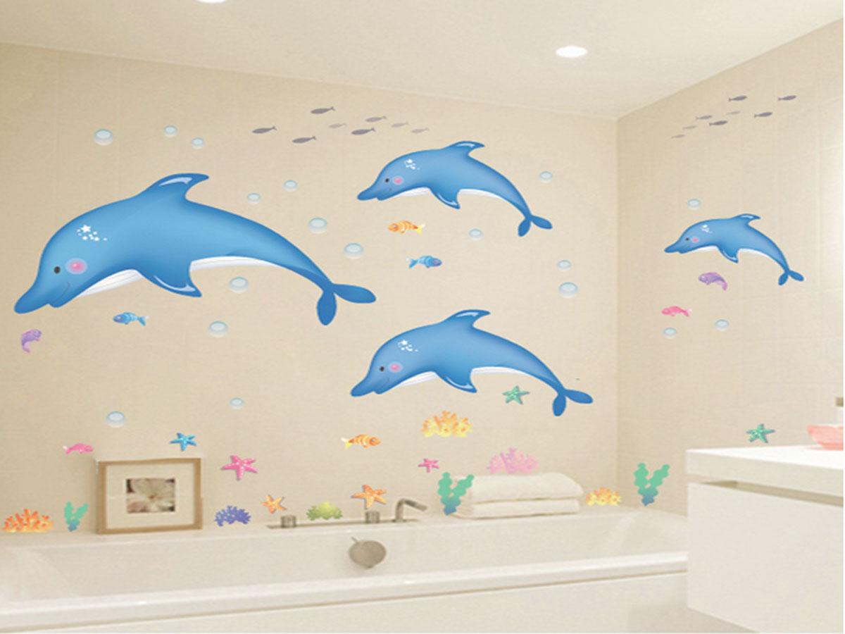 Decal dán tường cá heo xanh ay9168