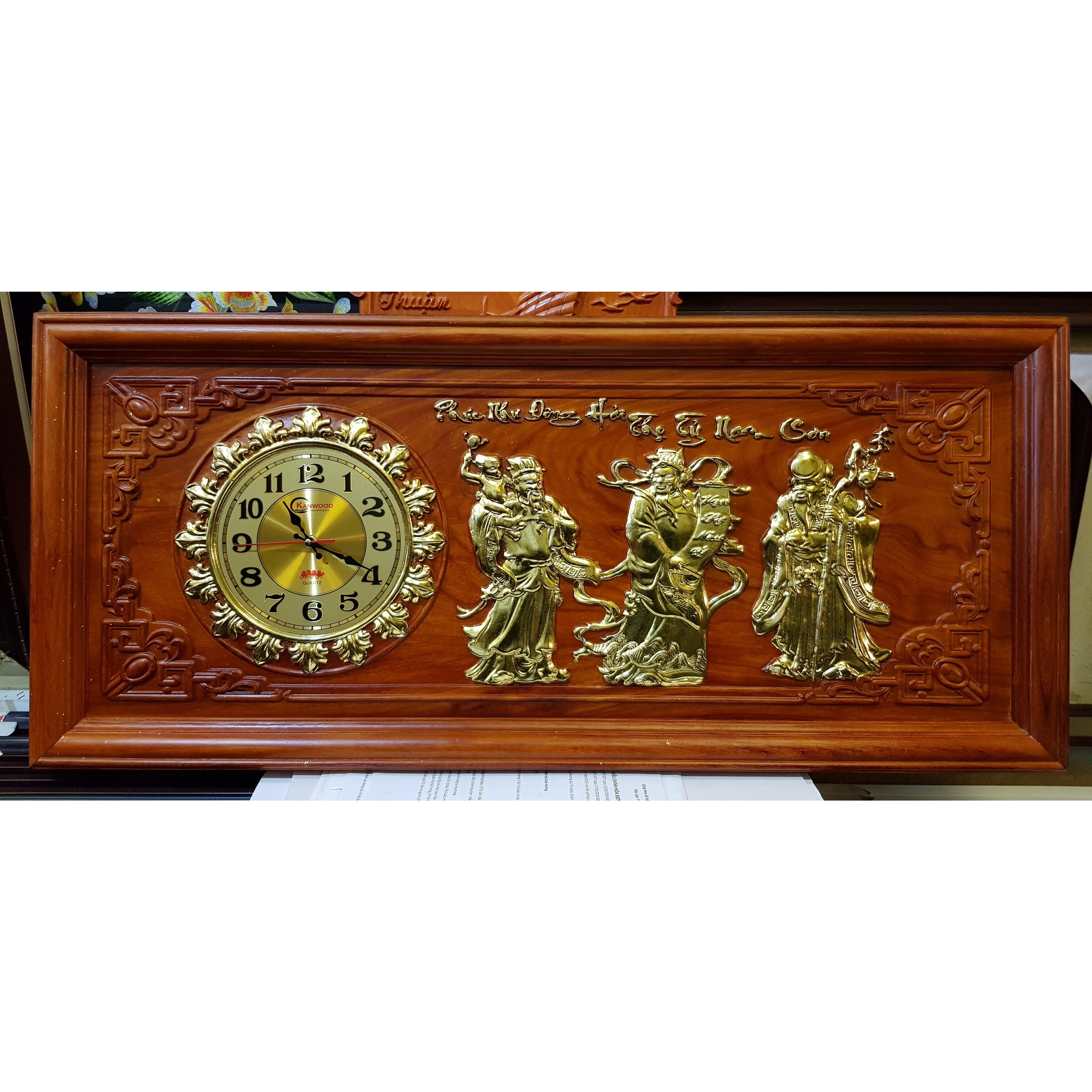 Tranh đồng hồ gỗ hương đục nổi mạ vàng  - Phúc Lộc Thọ- Tam Đa-Tg268
