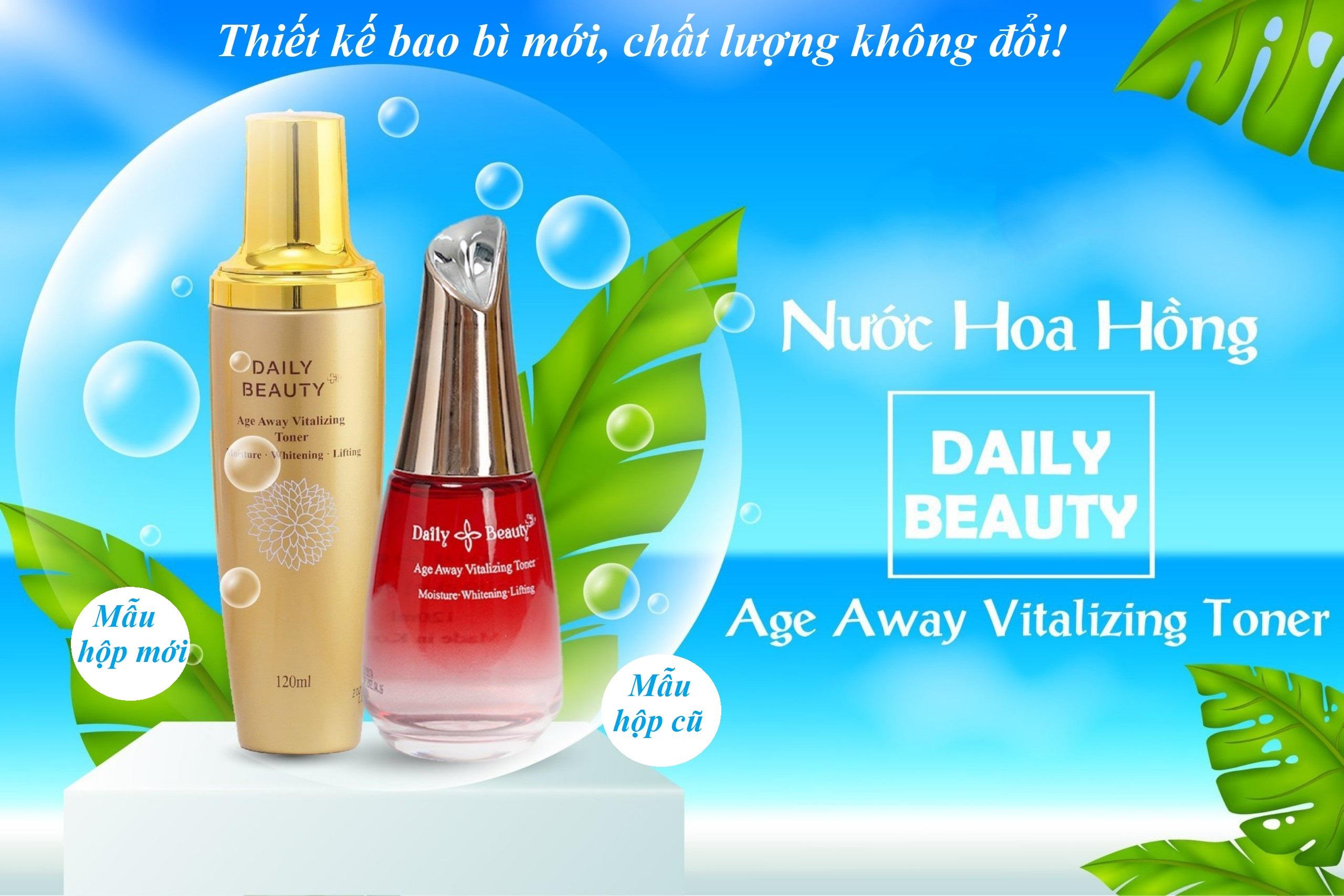 Combo 4 hộp Nước hoa hồng Daily Beauty Age Away Vitalizing Toner R&B Việt Nam nhập khẩu chính ngạch từ Hàn Quốc