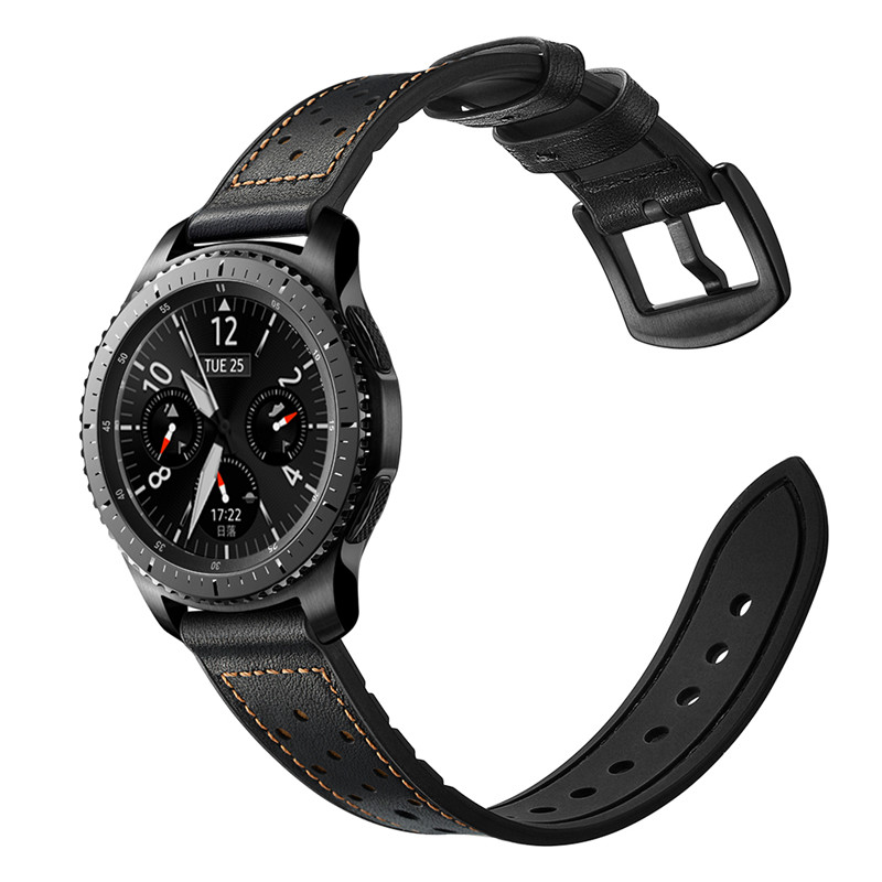 Dây da lỗ Hybrid Size 22mm cho Galaxy Watch 46, Huawei Watch GT 2, Samsung Gear S3, Fossil