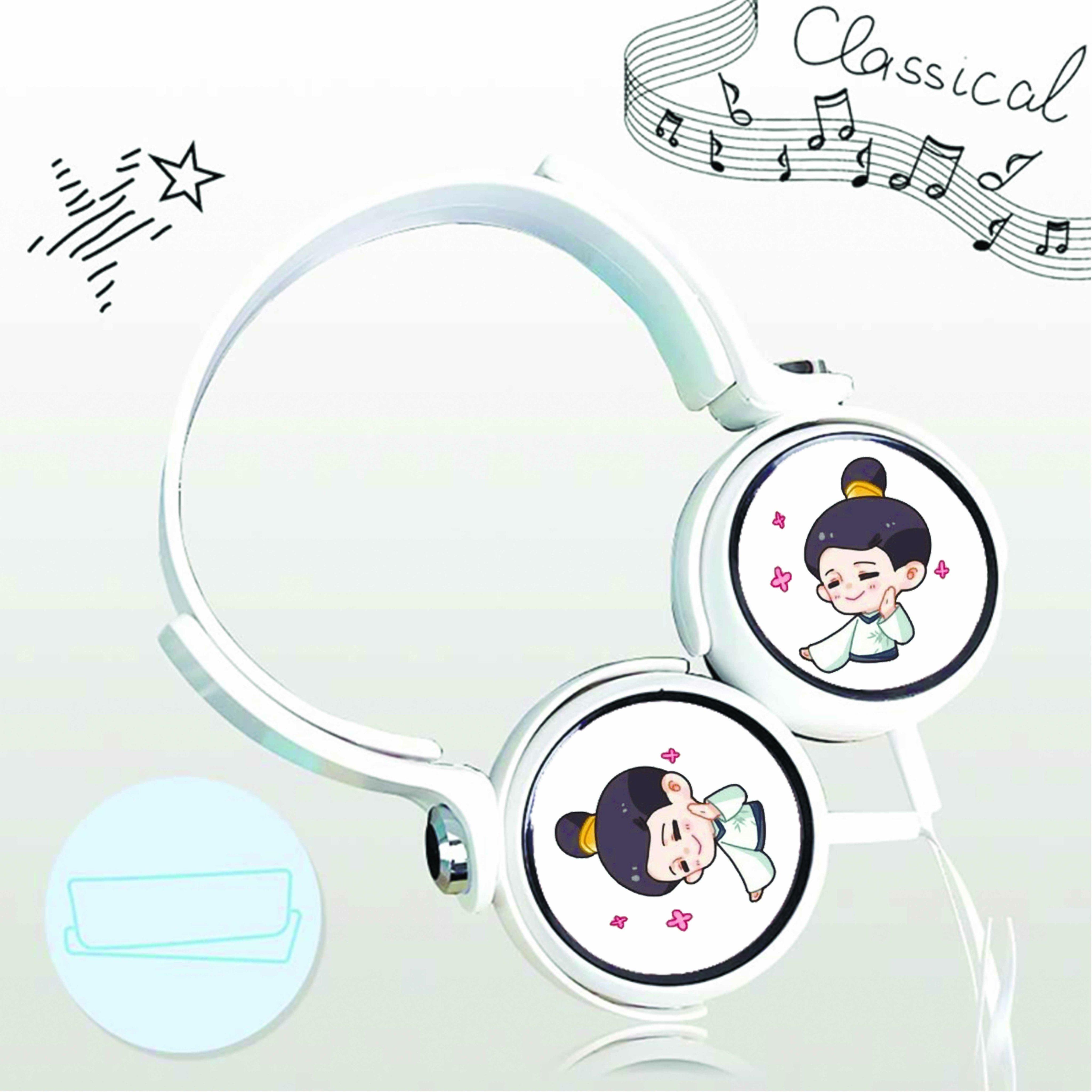 Tai nghe chụp in hình Trần Thiên Thiên Trong Lời Đồn chibi cắm dây có mic