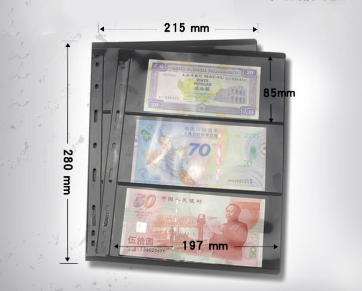 Combo 1 Tấm Phơi Đựng Tiền Tem 3 Ngăn Đen , tạo nền nổi bật , đựng được 60 tờ tiền