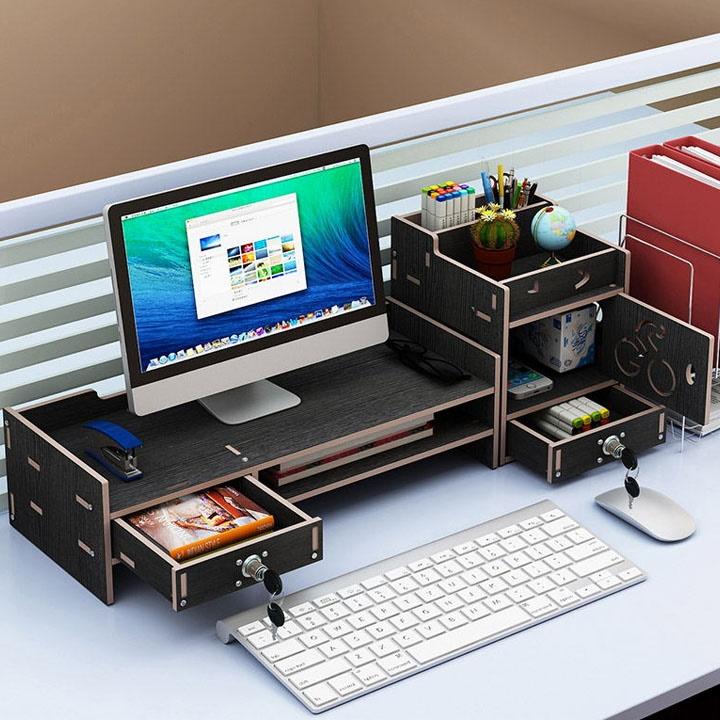Kệ gỗ để màn hình máy tính có ngăn kéo 2 bên - ĐEN - 23826038 , 9507723401141 , 62_23909232 , 569000 , Ke-go-de-man-hinh-may-tinh-co-ngan-keo-2-ben-DEN-62_23909232 , tiki.vn , Kệ gỗ để màn hình máy tính có ngăn kéo 2 bên - ĐEN