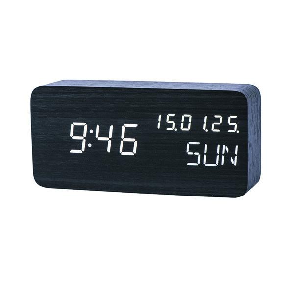 Đồng hồ báo thức điện tử vỏ gỗ