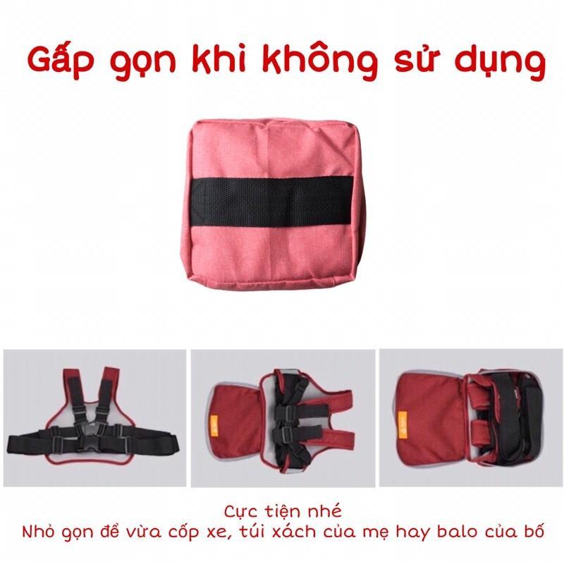Đai đi xe máy gấp gọn ️có túi đựng đồ cao cấp đai an toàn cho bé️ vải cotton thoáng nhẹ phản quang mềm mại