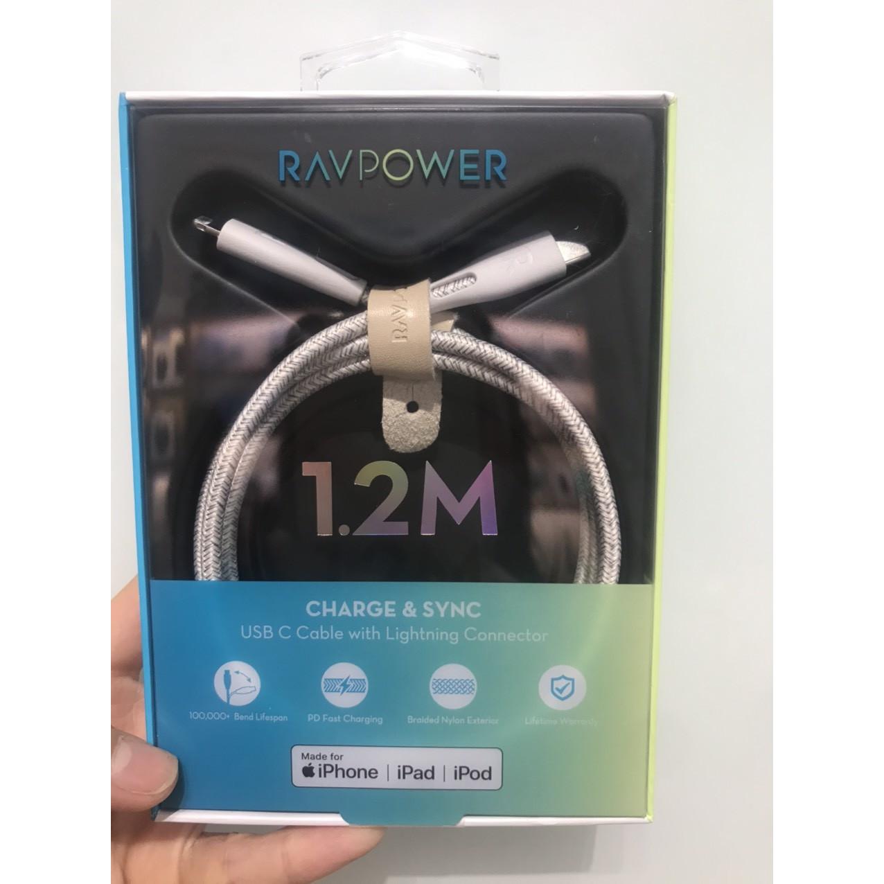 RAVPower RP-CB1004 Type-C To Lightning 1,2M- CHÍNH HÃNG - TRẮNG