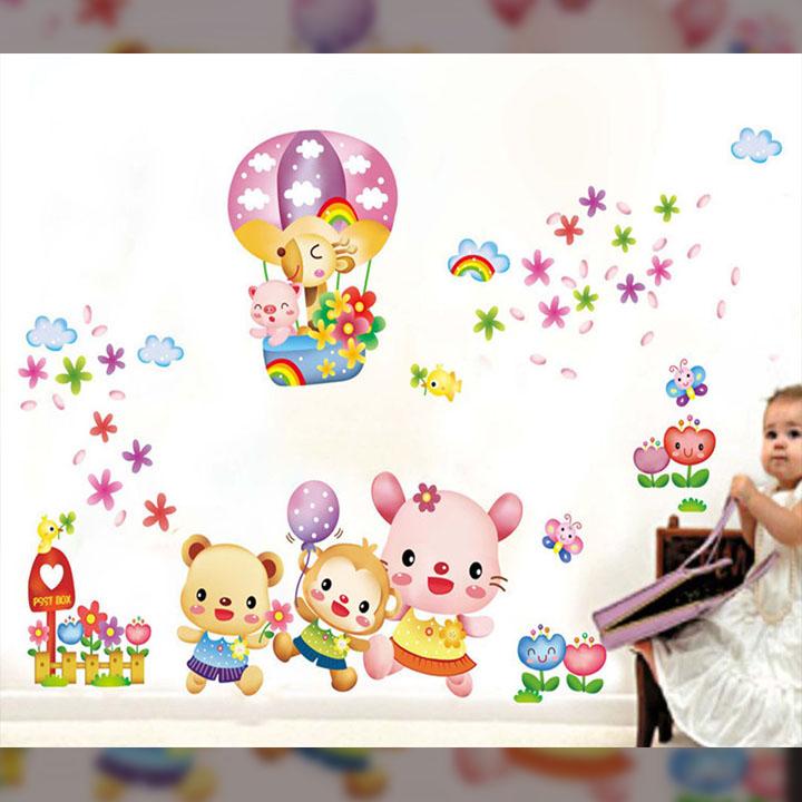 Decal dán tường chất liệu PVC loại 1 dày dặn, sắc nét,không độc hại, chuyên trang trí phòng khách, phòng ngủ, phòng học cho bé, giúp bé nhận biết màu sắc- vườn thú sắc màu tinh nghịch- mã sản phẩm ABC1032
