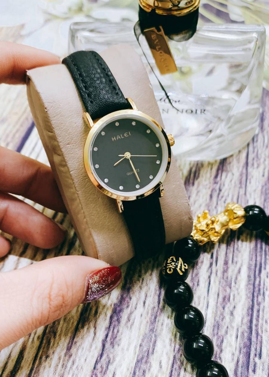 Đồng hồ Nữ Halei HL542 dây da cao cấp + Tặng Combo TẨY DA CHẾT APPLE WHITE PELLING GEL BEAUSKIN chính hãng