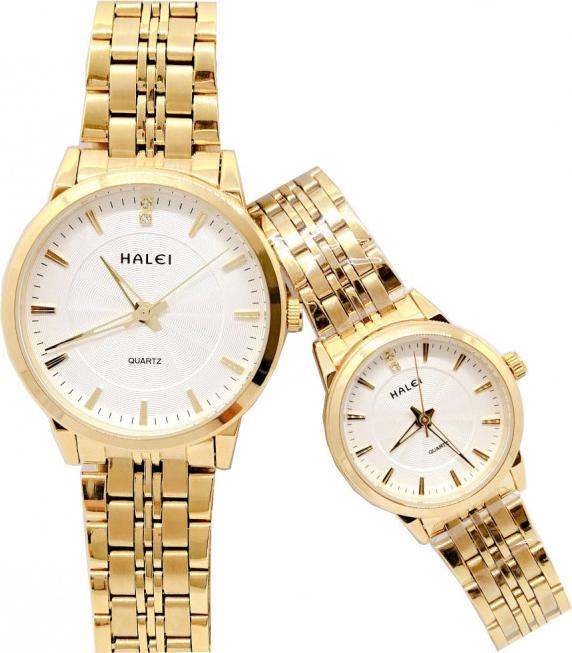 Cặp đồng hồ Nam Nữ Halei - HL55200 Dây vàng