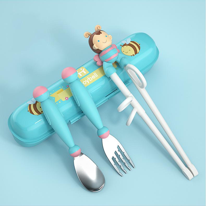 Set tập ăn 3 món (Thìa, Dĩa, Đũa xỏ ngón) inox kèm hộp đựng cho bé