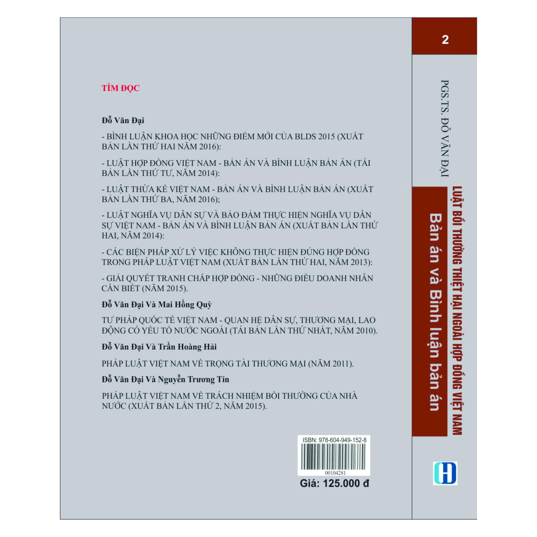 Luật Bồi Thường Thiệt Hại Ngoài Hợp Đồng Việt Nam Tập 2 - Bản Án và Bình Luận Bản Án