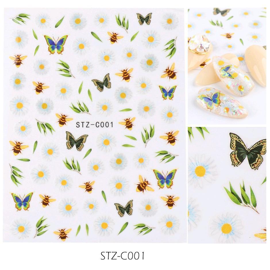 Sticker nails - hình dán móng 3D hoa C001