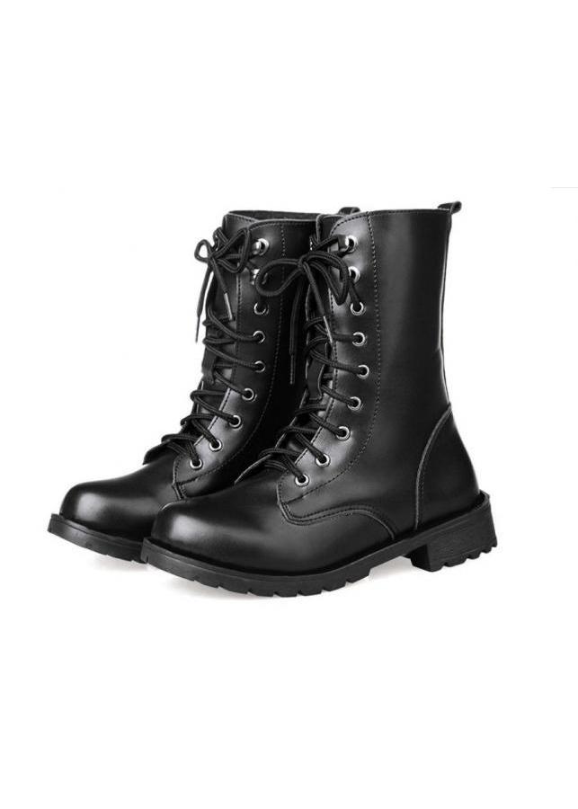 Giày nam combat boot da trơn S061
