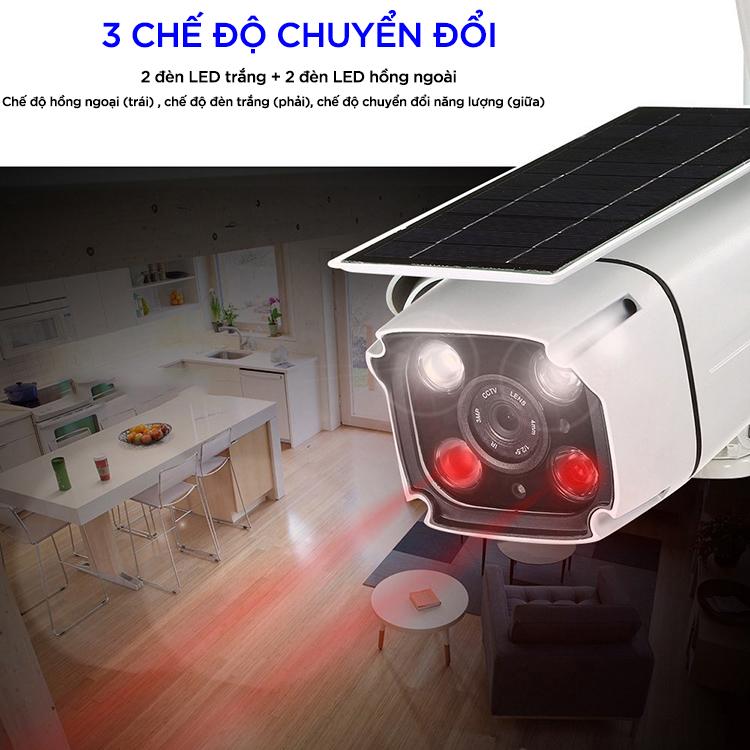 Camera Giám Sát Năng Lượng Mặt Trời 1080P FHD 2.0MP Wifi - Hàng Nhập Khẩu