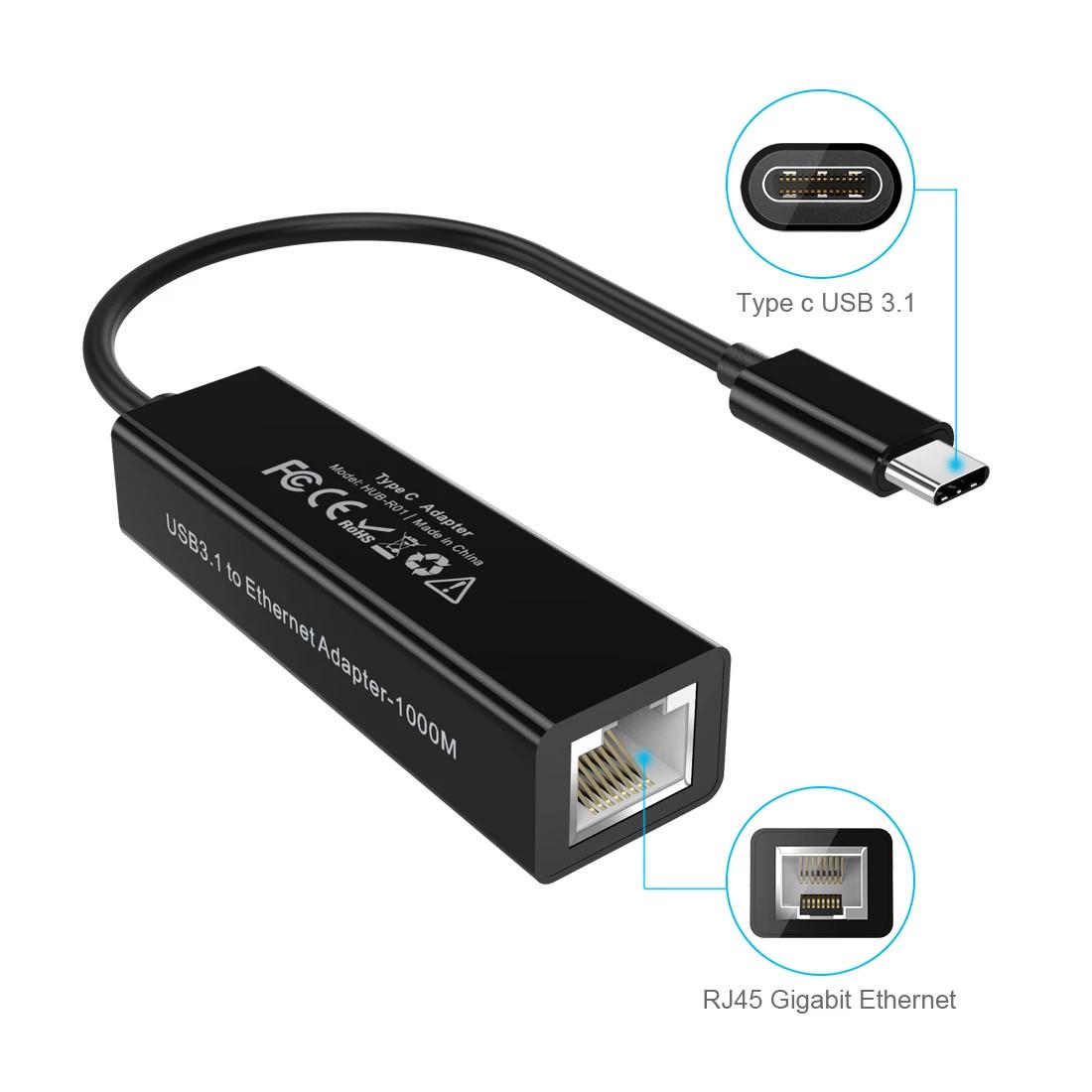 Đầu chuyển Type-C 3.1 ra cổng LAN RJ45 hiệu CHOETECH HPK-HUB-R01 cho điện thoại Macbook (Kết nối mạng có dây, thiết kế nhỏ gọn, tốc độ cao) - Hàng chính hãng
