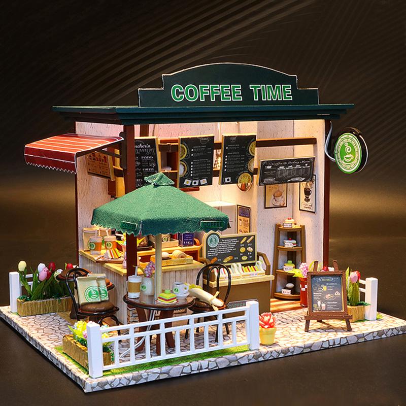 Mô hình nhà DIY Doll House Coffee Time Kèm Đèn LED và Mica chống bụi