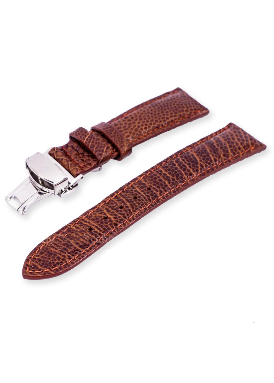 Dây đồng hồ da đà điểu thật khóa gắn sẵn khóa bướm chống gẫy dây