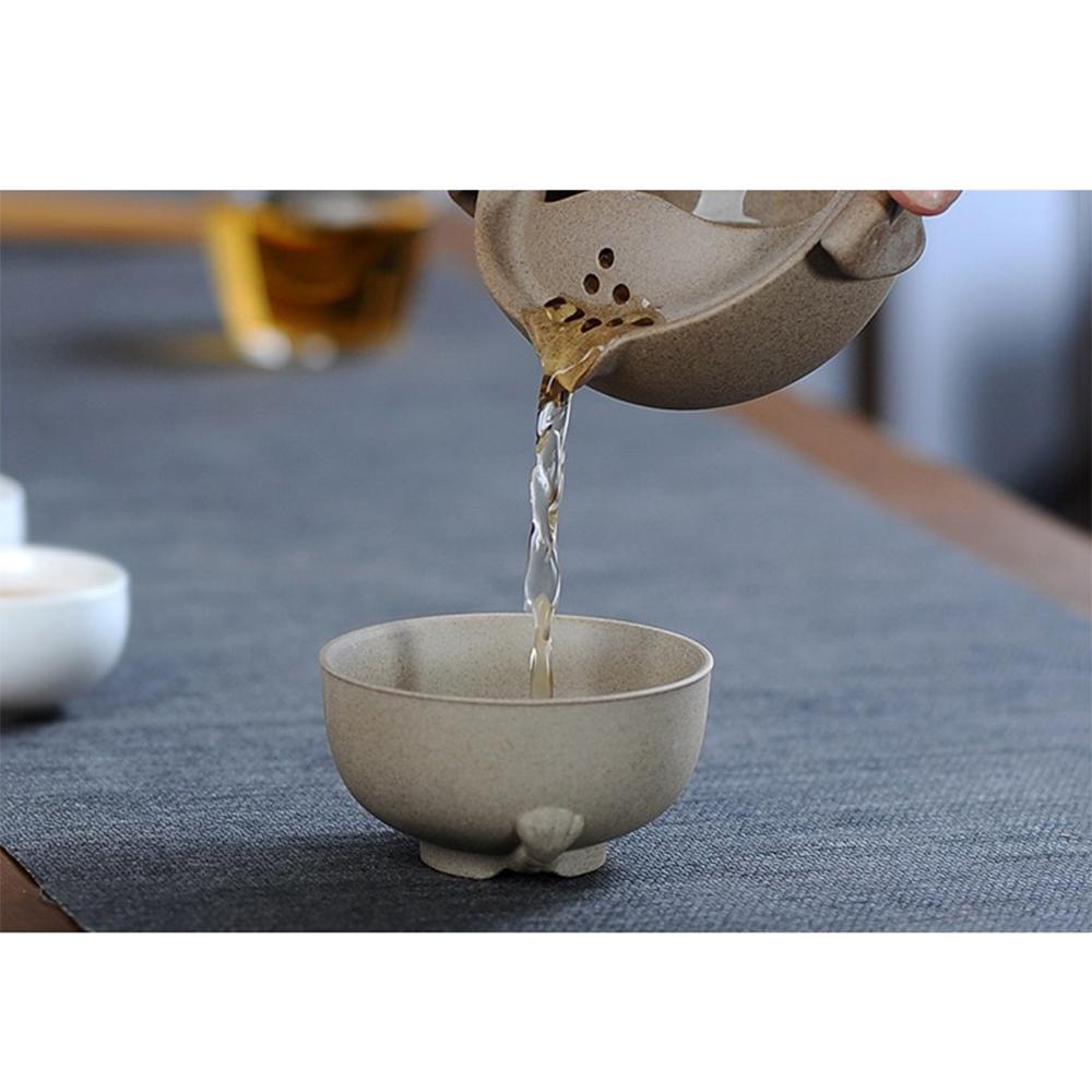 Bộ ấm chén độc ẩm trà màu nâu đá họa tiết sư tử