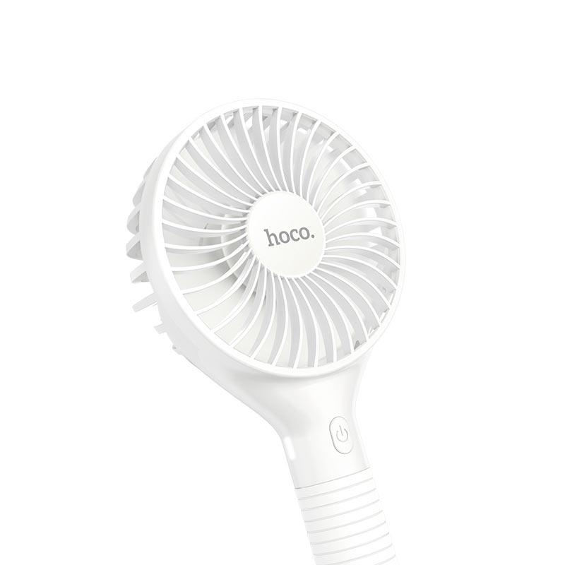 Quạt cầm tay mini Hoco dung lượng 1500mAh kèm giá đỡ tiện lợi tích hợp điều chỉnh 3 chế độ gió - Hàng chính hãng