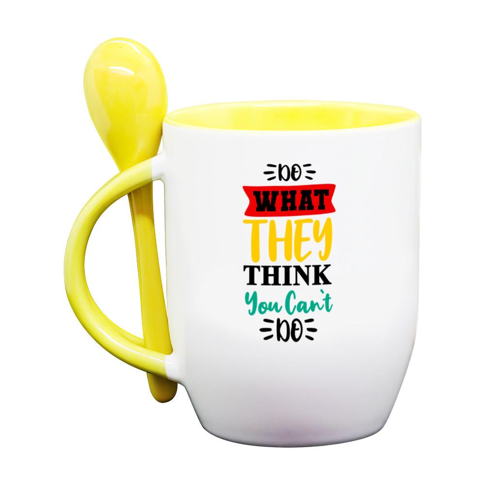 Ly/ Cốc Sứ Cao Cấp kèm Muỗng Cùng Màu, Kiểu Dáng Dễ Thương, in câu nói hay về Ý Chí, Tạo Động Lực trong cuộc sống, công việc - Do What They Think You Can't Do (Hãy làm những việc mà họ nghĩ bạn không thể làm được)