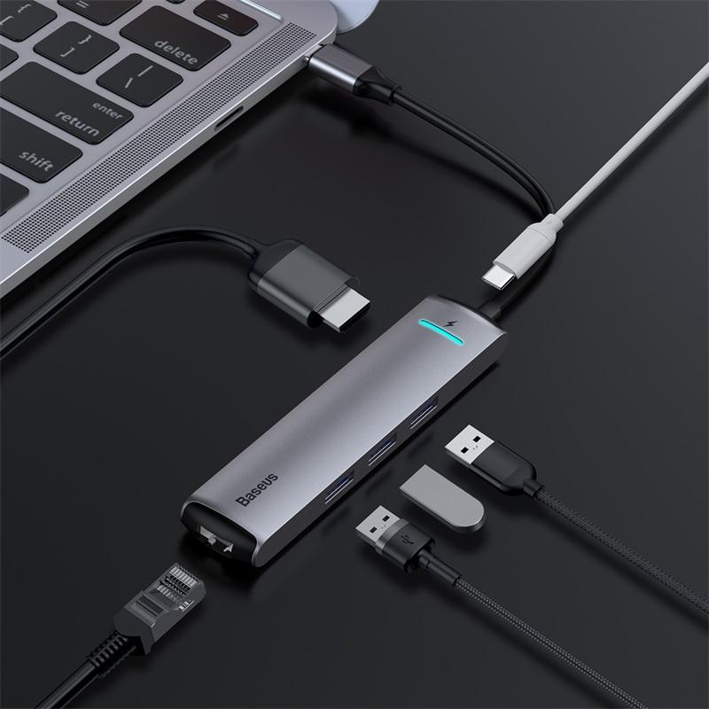Bộ chuyển đổi HUB thông minh Baseus mechanical eye Six-in-one smart HUB Dex Station Type-C To PD Of HDMI/USB3.0*3/RJ45 Ethernet Port - CAHUB-J0G - Hàng Chính Hãng