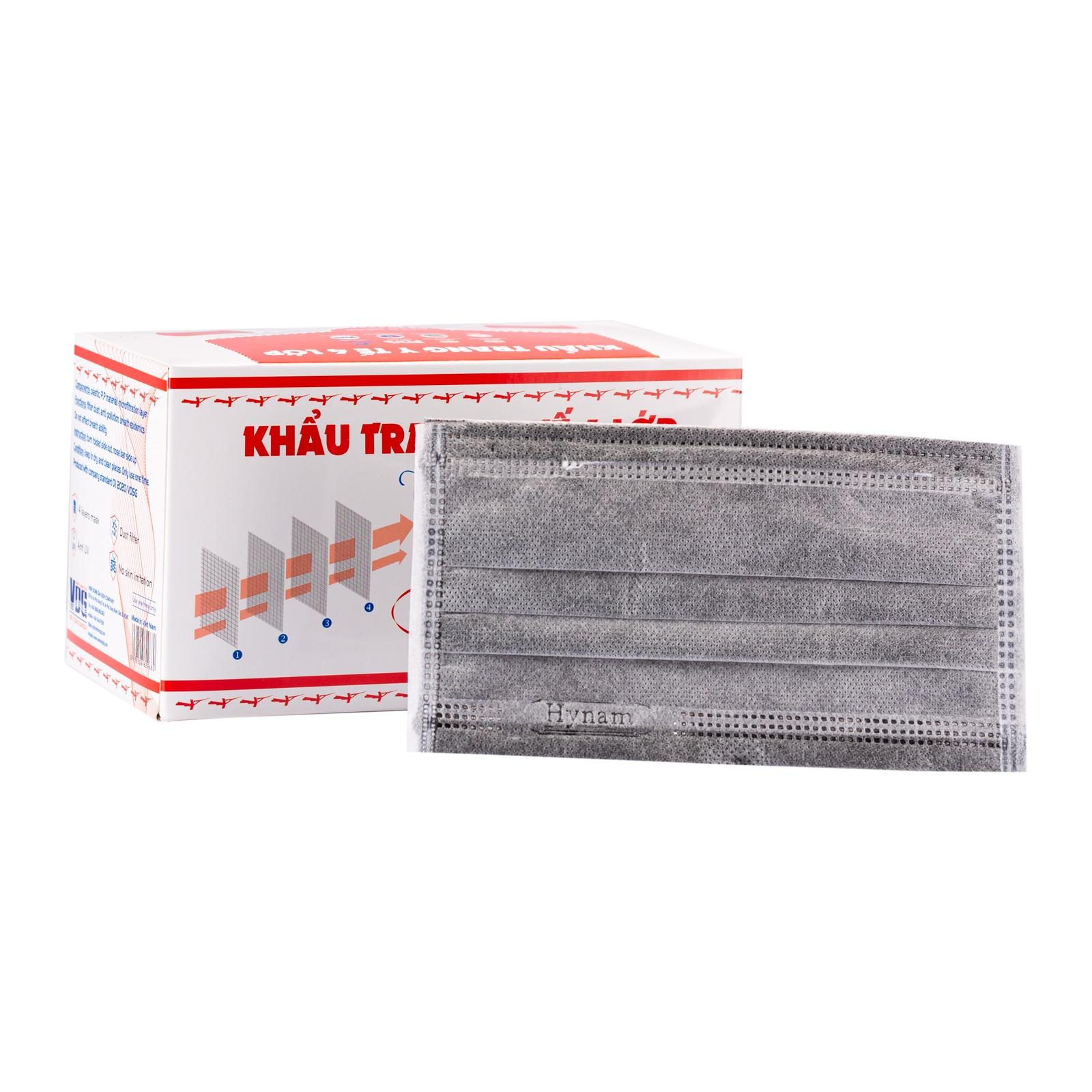 Khẩu trang y tế 4 lớp vải không dệt Hynam - (50 cái/ hộp) - Màu xám